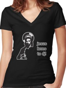 Jesus Loves To DJ Women's Fitted V-Neck T-Shirt