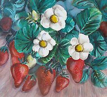 White blossom strawberries by catherine6401