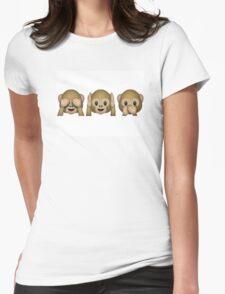 Emoji - See No Evil, Hear No Evil, Speak No Evil Womens Fitted T-Shirt