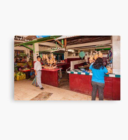 Chicken Shops at the Mercado - Playas, Ecuador Canvas Print