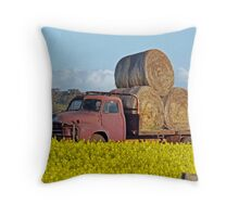 Hay Stack Truck Throw Pillow