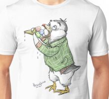 Grunge penguin taking an ice cool break. Unisex T-Shirt