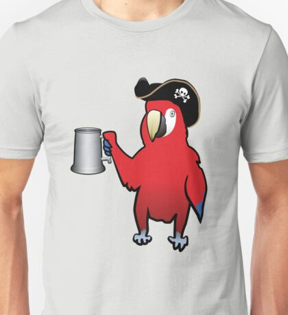Red Pirate Parrot with a tankard Unisex T-Shirt