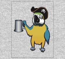 Yellow Pirate Parrot with a tankard One Piece - Short Sleeve
