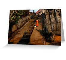 Monk Sweeping the Dragon Stairs Greeting Card