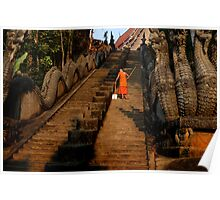 Monk Sweeping the Dragon Stairs Poster