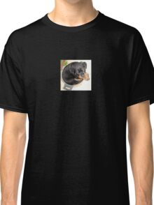 Female Rottweiler Puppy Curled In A Food Bowl Classic T-Shirt