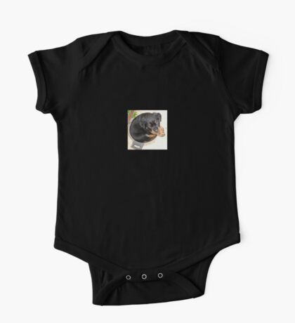 Female Rottweiler Puppy Curled In A Food Bowl One Piece - Short Sleeve