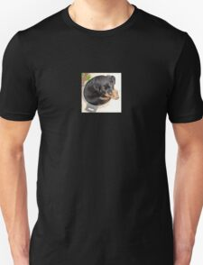 Female Rottweiler Puppy Curled In A Food Bowl T-Shirt