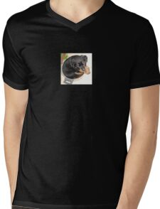 Female Rottweiler Puppy Curled In A Food Bowl Mens V-Neck T-Shirt