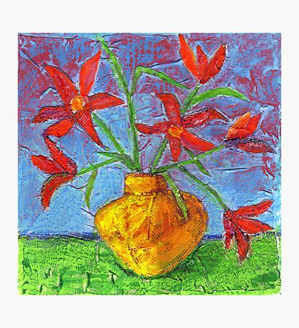 red flowers in yellow vase Photographic Print
