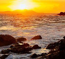 Golden sunrise over tropical island Culebrita by czuber
