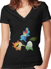 Johto Starters - Pokemon Women's Fitted V-Neck T-Shirt