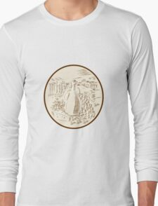 Olive Oil Jar Cheese Tuscan Countryside Etching Long Sleeve T-Shirt