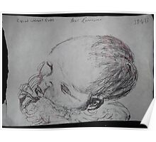 Female Baby Head -(280413)- A5 sketchbook white/Black biro pen Poster
