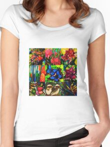 Tropical patchwork Women's Fitted Scoop T-Shirt