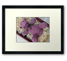 Knitted Pink Hippo Calf Framed Print
