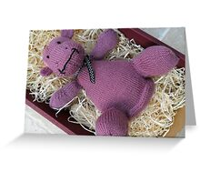 Knitted Pink Hippo Calf Greeting Card