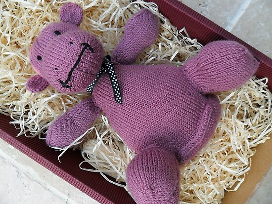 Knitted Pink Hippo Calf by Dionne Meade