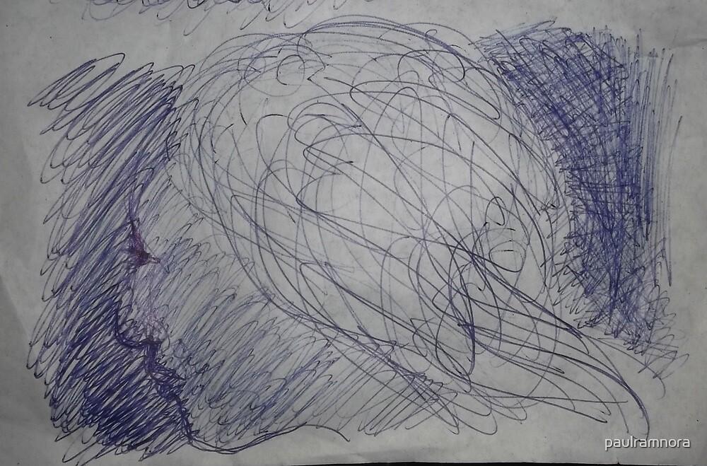 Imaginary female head/sketch -(270413)- A4 sketchpad/white + Blue biro pen by paulramnora