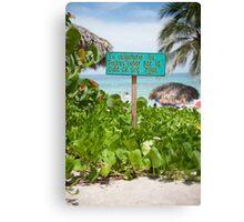 Beach Sign - Cuba Canvas Print