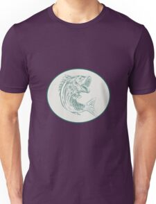 Largemouth Bass Fish Oval Etching Unisex T-Shirt