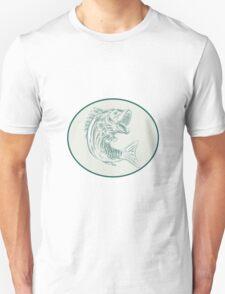 Largemouth Bass Fish Oval Etching T-Shirt