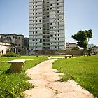 Cuba Havana, Path & Tower Block.  by sallyrose1