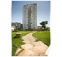 Cuba Havana, Path & Tower Block.  Poster