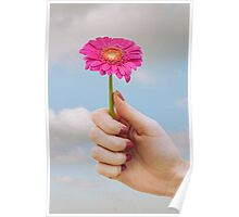 Surreal Hand holding Flower Poster