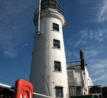 Scarborough lighthouse in morning light by StephenRB