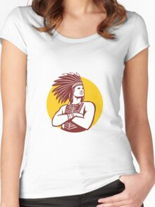Native American Indian Chief Warrior Circle Retro Women's Fitted Scoop T-Shirt