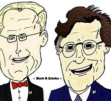 Black et Scholes Caricatures by optionsbinaires