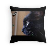 black kitty cat wants space fish Throw Pillow