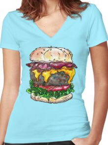 bacon cheeseburger Women's Fitted V-Neck T-Shirt