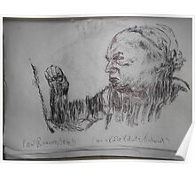 Kollwitz copy/Self-portrait II (4 of 4) -(280413)- A4 sketchbook white/blue biro pen Poster