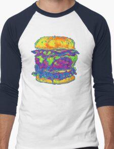 Neon Bacon Cheeseburger Men's Baseball ¾ T-Shirt