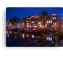 Night Lights on the Amsterdam Canals. Holland Canvas Print