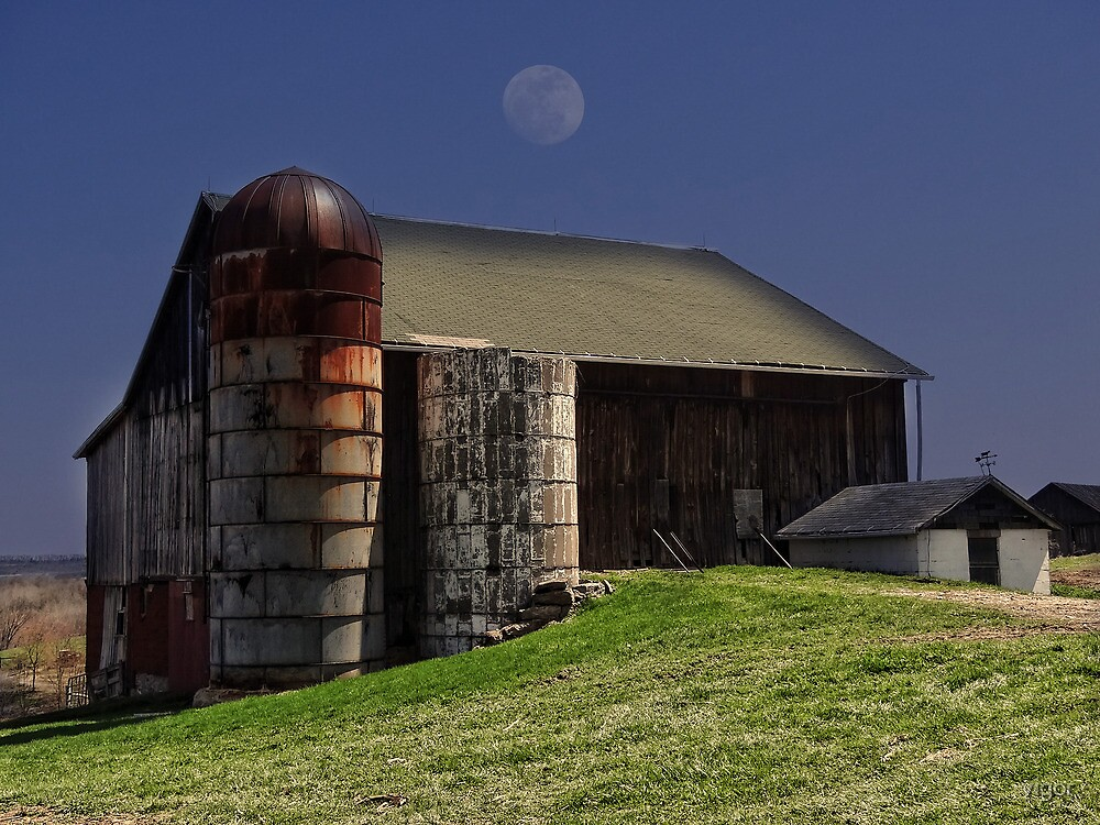 moon over a barn by vigor
