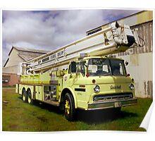 Vintage Yellow Firetruck Poster