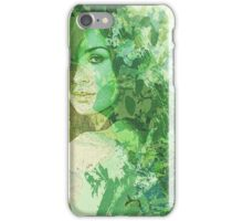 green illustrated girl iPhone Case/Skin