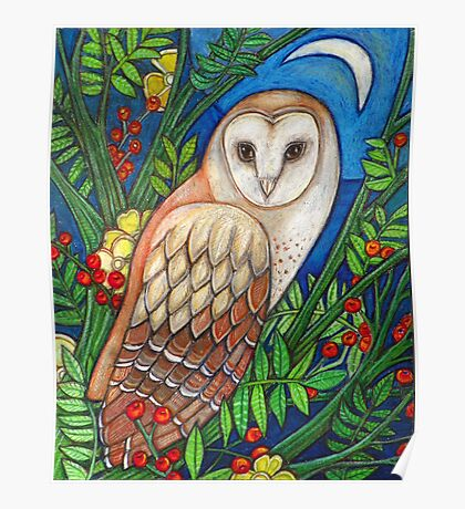 White Heart (Portrait of a Barn Owl) Poster