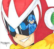Proto Man and Mega Man by navasedinho