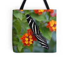 A Zebra Longwing on Lantana  Tote Bag