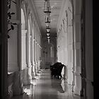 B&W Tranquility - The Raffles, Singapore by Jane  Earle Photography