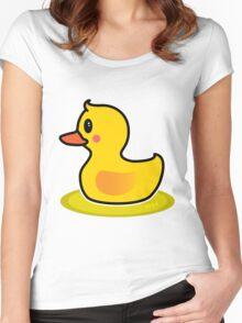 Cute Duck Swimming Cartoon Women's Fitted Scoop T-Shirt
