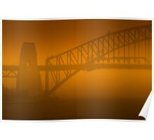 Sydney Harbour Bridge engulfed in a Dust Storm Poster