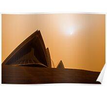 Sydney Opera House engulfed in a Dust Storm Poster