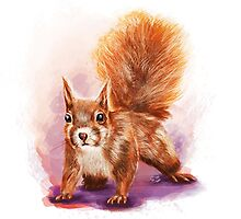 Squirrel  - Digital Painting by Tom Lopez by Tom Lopez