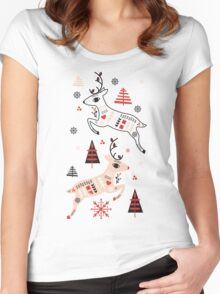 Holiday Folk in Pink Peppermint  Women's Fitted Scoop T-Shirt